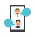 men face avatars on screen smartphone with vector image