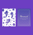 mermaid card template with silhouettes mermaids vector image