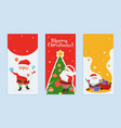 merry christmas greeting card set with cartoon vector image vector image