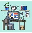 Modern creative office desk worker in line flat vector image vector image