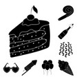 party entertainment black icons in set collection vector image