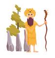 pop art caveman in fur animal skin and vector image