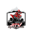 quad bike off-road atv logo mountain adventure vector image vector image