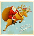 Santa on reindeer with Christmas gift vector image