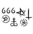 set hand drawn satanic occult signs vector image