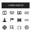 set of 12 editable cinema icons includes symbols vector image vector image
