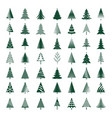 set of black christmas trees vector image
