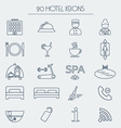 Set of icons of linear hotel service Hotel glyph vector image