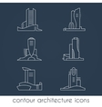Set of six contour architecture icons vector image