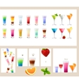 Set with different kinds of drinks - cocktails vector image