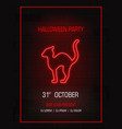 silhouette cat neon signhappy halloween bright vector image