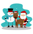 snowman wearing hat and deer with santa claus vector image vector image