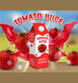 tomato juice ads realistic vector image
