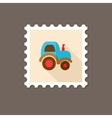 Tractor flat stamp with long shadow vector image vector image