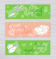 vegetables banners with circles on wooden backdrop vector image vector image