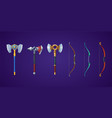 viking axes and bows for medieval battle game vector image