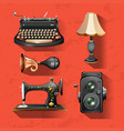 vintage items on red background vector image vector image