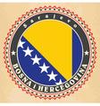 Vintage label cards of Bosnia and Herzegovina fla vector image