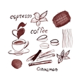 Watercolor coffee set vector image vector image
