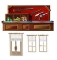 Weapons shop door and windows vector image vector image