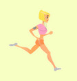 sports blonde girl playing sports running vector image