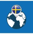 world map with pointer flag sweden vector image