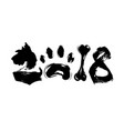 abstract number 2018 dog paw bone vector image vector image