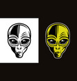 alien head in two styles black and colorful vector image vector image