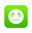 annoyed emoticon digital green vector image vector image