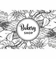 bakery shop banner or cover with line hand drawn vector image vector image