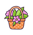 basket with flowers vector image