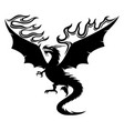 black dragon with fiery wings vector image