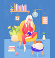 books concept the girl reads a book vector image vector image