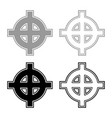 celtic cross grey black superiority icon set grey vector image vector image