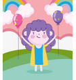 children day cartoon little girl in grass vector image vector image