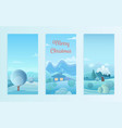 christmas nature winter landscape set with village vector image