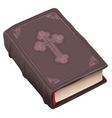 Closed old bible book in brown cover vector image