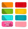 colorful empty tickets set isolated on white vector image vector image