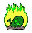 comic cartoon burning old bones vector image vector image