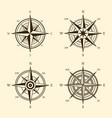 compass icons hand drawn wind rose vintage vector image