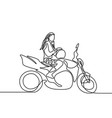 continuous line woman sitting on motorbike vector image vector image