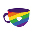 Cup with gay pride flag hand draw style