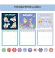 Cute calendar diary 2016 with seasonal themes vector image