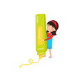 cute girl with giant highlighter preschool vector image