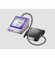 digital blood pressure monitor on transparent vector image vector image