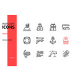 diving - modern line design style icons set vector image