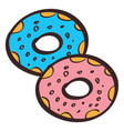 donuts colored in hand drawing style vector image vector image