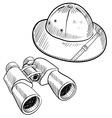 doodle safari hat binoculars vector image vector image