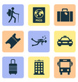exploration icons set with baggage suitcase vector image