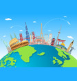 explore the world with famous architectural landma vector image